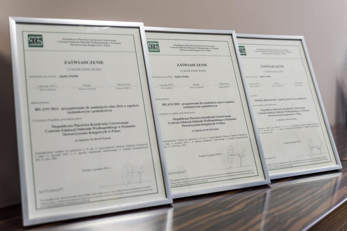 Certyfikaty Biuro Rachunkowe Value Business Agata Socha Poznań