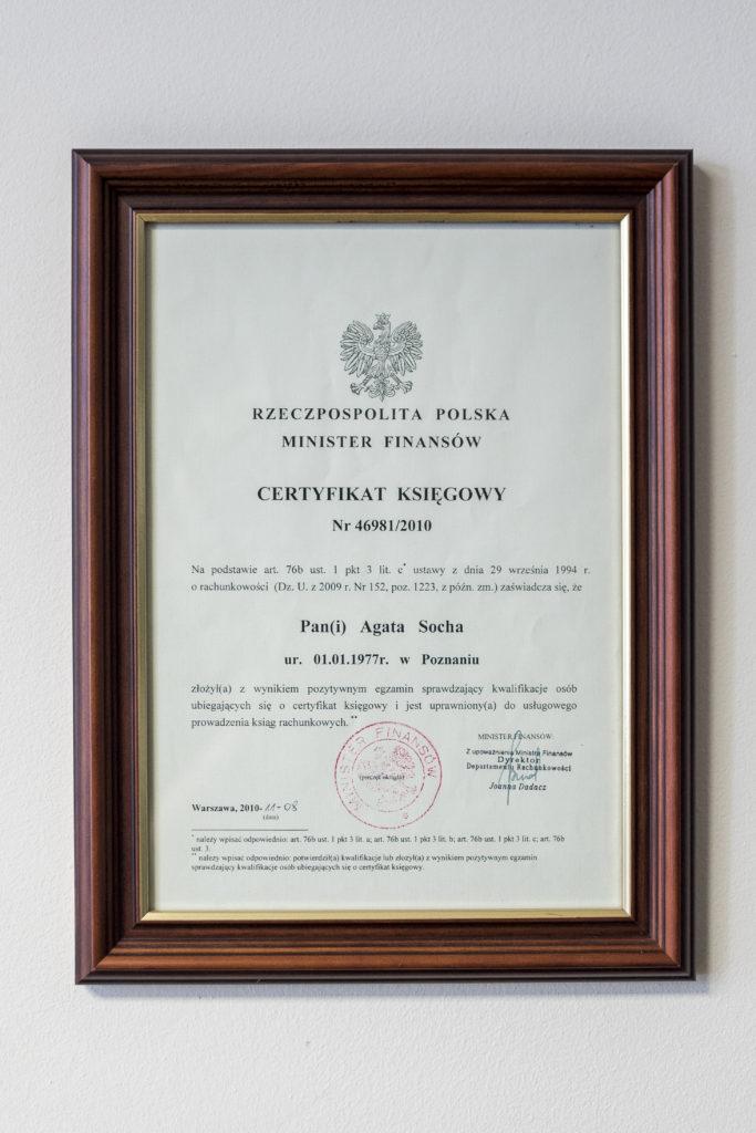 Biuro Rachunkowe Value Business Agata Socha Poznań - certyfikat księgowy
