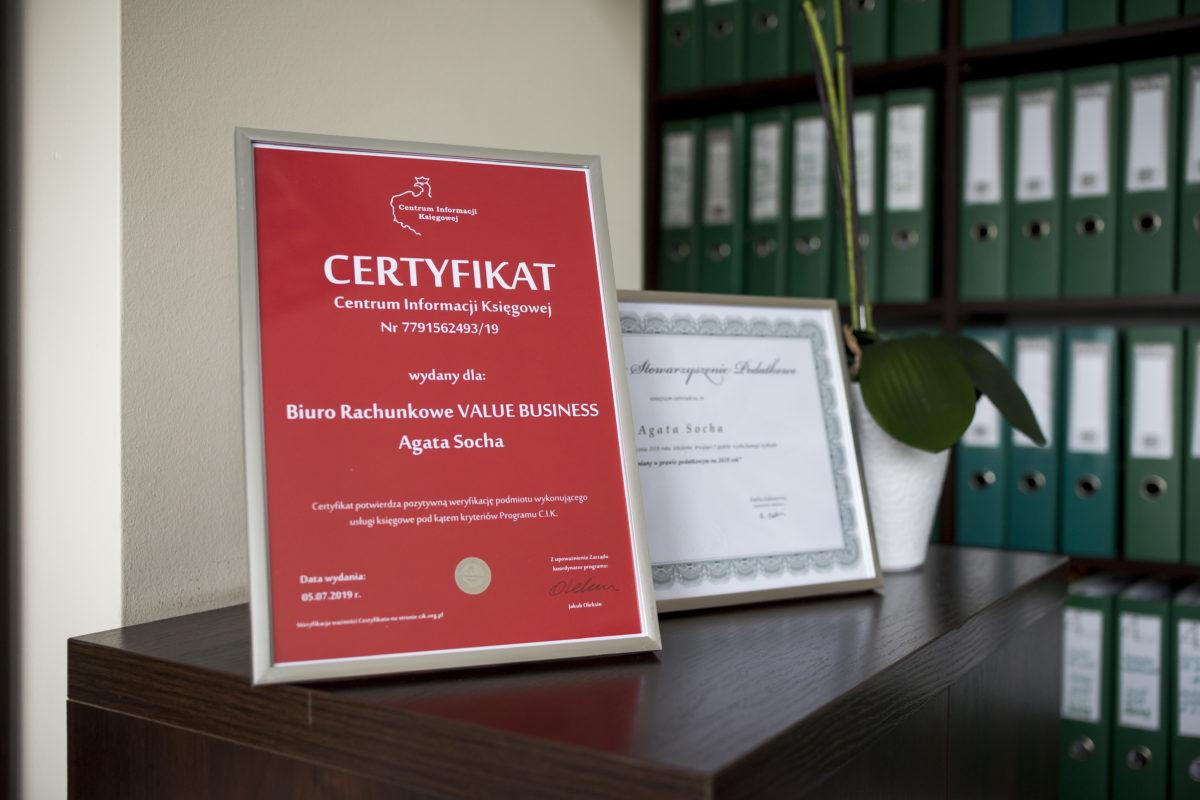certyfikat Biuro Rachunkowe Value Business Agata Socha Poznań