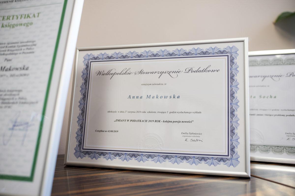 certyfikat Anna Makowska - Biuro Rachunkowe Value Business Poznań