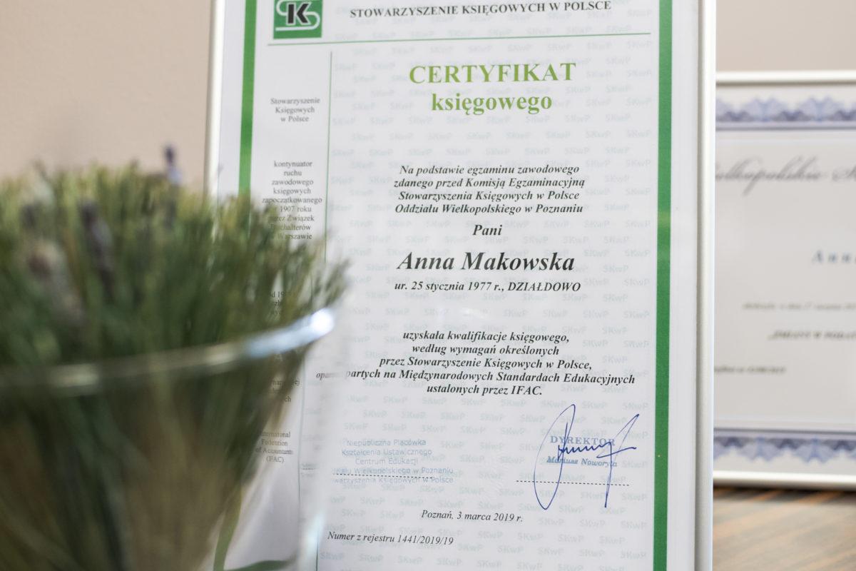 certyfikat księgowego Anna Makowska